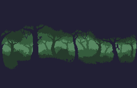 Pixel art 8-bit dark green forest background