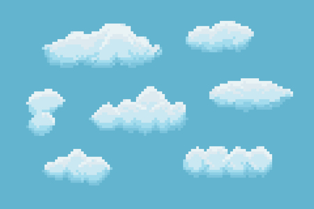 Set of clouds with different size and shape Illustration