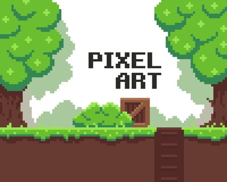 art background: Pixel art background with grass, mud, crate, bush, hole with stairs and trees Illustration