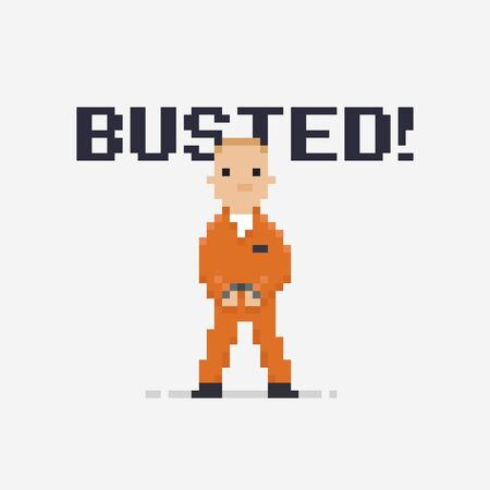 detainee: Pixel art prisoner isolated on light background with handcuffs