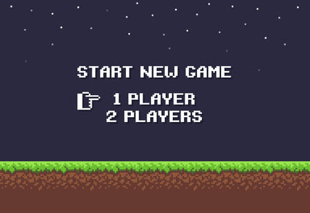 night art: Pixel art night game background with grass, dirt, stones, sky and start new game 8-bit text Illustration