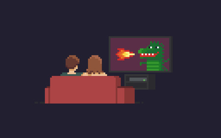 Pixel art couple watching tv with dragon that belching fire Illustration
