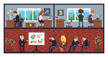 Pixel art office, working places, conference room and different people