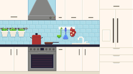 Pixel art kitchen interior with fridge, oven, sink, pot and pan