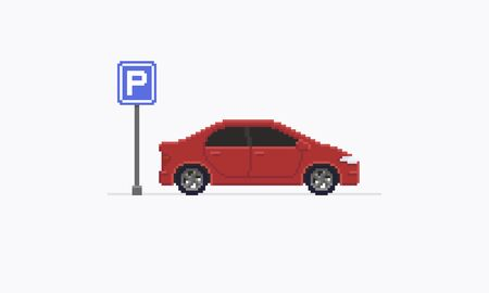 8bit: Pixel art car, red sedan staying after the parking road sign, isolated on white background Illustration