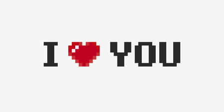 Pixel art I love you phrase with 8-bit heart on light background