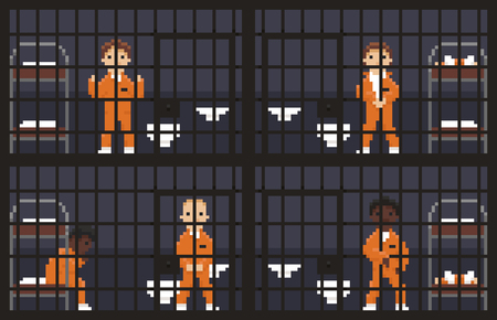 skin color: Pixel art prison cages with prisoners in different poses and skin color Illustration