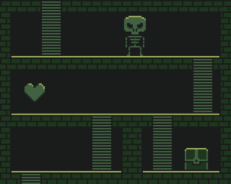 chest wall: Pixel art retro dungeon, retro platformer with stairs, heart, chest and skeleton Illustration