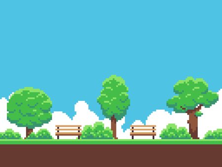 Pixel-Kunst Spiel Hintergrund mit Bäumen, Boden, Gras, Himmel und Wolken Standard-Bild - 80114982