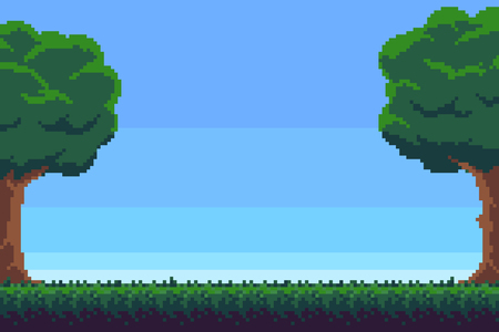 Pixel art game background with trees and grass Illustration