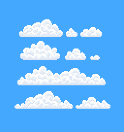 8bit: Set of clouds with different size and shape.