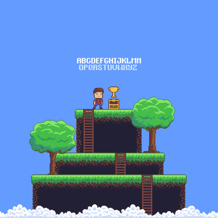 Pixel art game scene with ground, grass, ladders, trees, sky, clouds, male character, open chest, golden cup and 8-bit alphabet