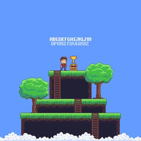Pixel art juego escena con suelo, hierba, escaleras, árboles, cielo, nubes, carácter masculino, cofre abierto, copa dorada y alfabeto de 8 bits