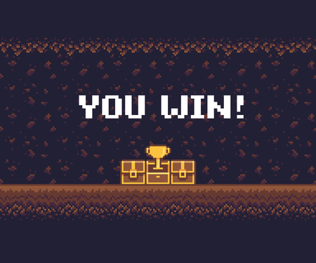 Pixel art game background, underground cave with treasure chests and golden goblet.