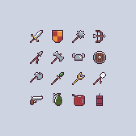 Set of 16 pixel art game icons with different weapons