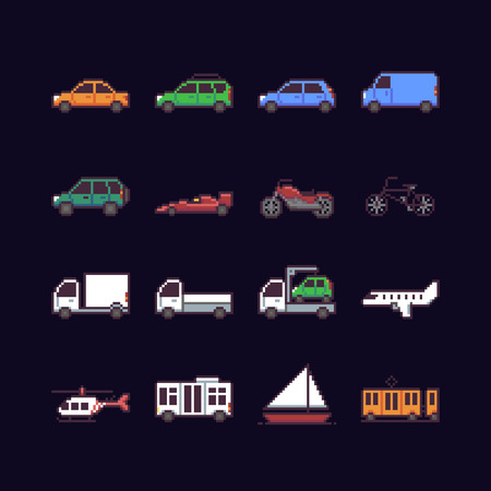Set of 16 pixel art icons with different cars, public transport, air vehicles. Ilustração