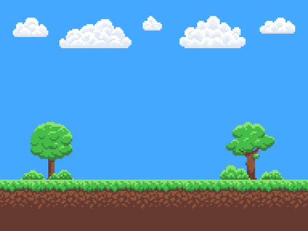 Pixel art game background with trees, ground, grass, sky and clouds.