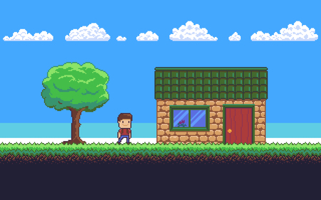 Pixel art game scene with ground, grass, tree sky, clouds, character, and house