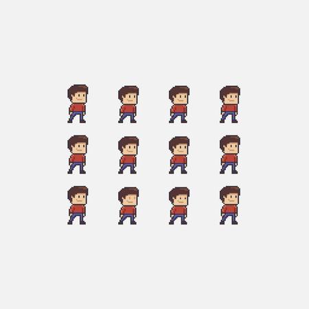 픽셀 아트 소년 유휴 애니메이션 스프라이트 시트, 흰색 배경에 고립 된 남성 문자 집합