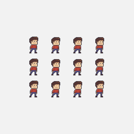 Pixel art boy idle animation sprite sheet, set of male characters isolated on white background