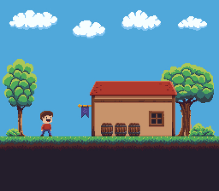 Pixel art game scene with ground, grass, trees, bushes, sky, clouds, character, wooden barrels and house Illustration
