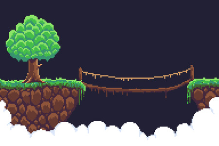 Pixel art game background two islands  in clouds, bushy tree and rope bridge Stock Illustratie