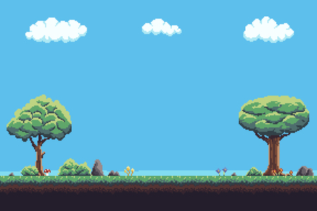 Pixel art game background with tree, ground, grass, sky and clouds Ilustração