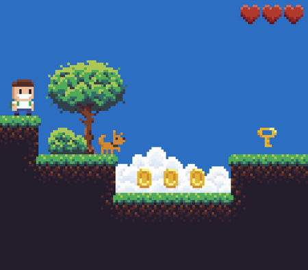 Pixel art game scene with boy and dog pointing to the key, tree, bush, clouds, coins and hearts