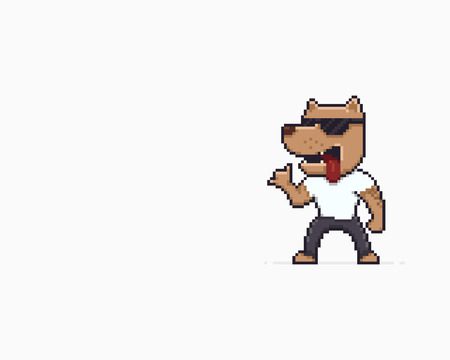 Pixel art funky dog in sunglasses showing shaka gesture Illustration