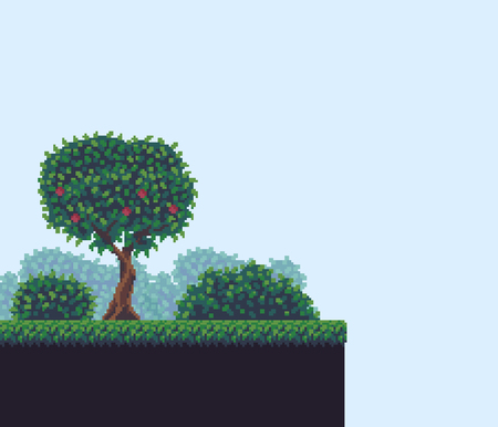 Pixel art game background with tree, bushes and grass