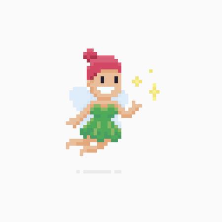 Pixel art gelukkig vliegende fairy karakter met magische sparkles Stock Illustratie