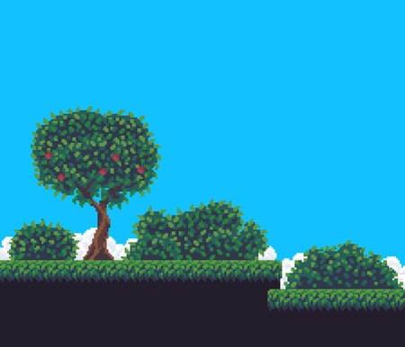 Pixel art game background with tree, bushes, grass, sky and clouds