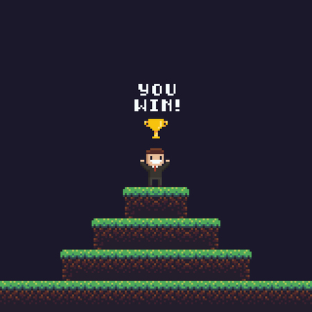 Pixel art office character standing on the top of the hill with golden goblet above his head and you win text Фото со стока - 85695996
