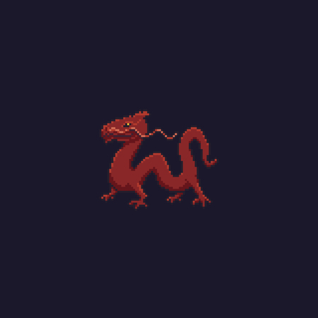 Pixel art red asian chinese dragon isolated on dark background