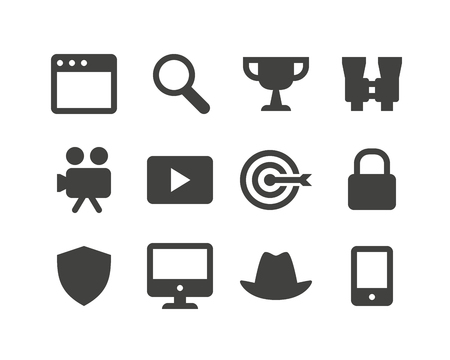 security monitor: Set of sixteen glyph internet, media and seo icons