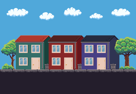 Pixel art 8-bit three two-storey houses, trees and sky with clouds.