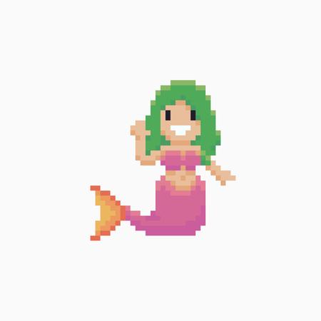 ピクセル アート幸せな人魚手波と挨拶