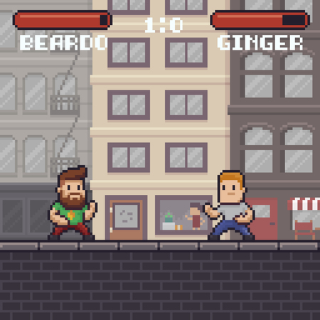 Pixel art fighting game scene with two ready to fight characters in battle stances