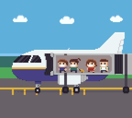 航空機に搭乗しながらジェット橋を通って移動する人々とピクセルアートシーン  イラスト・ベクター素材