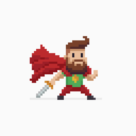 Pixel art bearded hero character with red cape and sword ready to fight