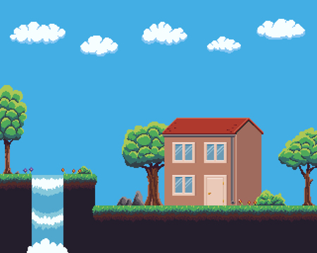Pixel art game scene with ground, grass, tree sky, clouds, waterfall, and house.