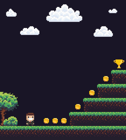 Pixel art game scene with tree and grass, clouds, businessman character and steps to golden goblet