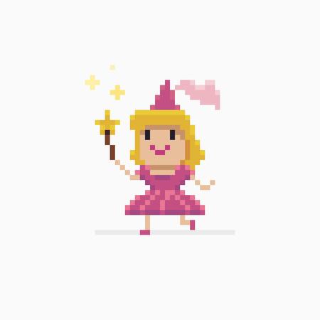 ピクセル アートの妖精のプリンセス星実行形の杖と手品  イラスト・ベクター素材