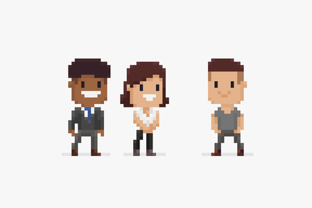Three pixel art characters, male and female, in office dress isolated on white background