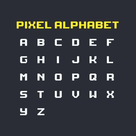 Set of pixel art retro latin alphabet uppercase letters.