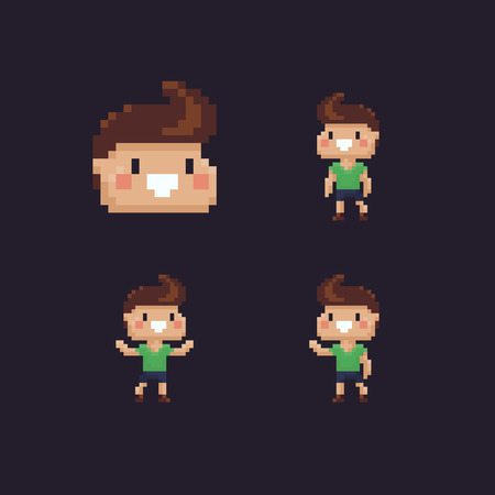 Set of pixel art cheeky boy characters, vector illustration.  イラスト・ベクター素材