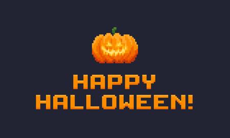 Pixel art Jack-o-Lantern pumpkin and Happy Halloween text.