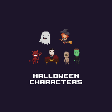 Pixel art 8-bit retro Halloween characters, vector illustration. Ilustrace
