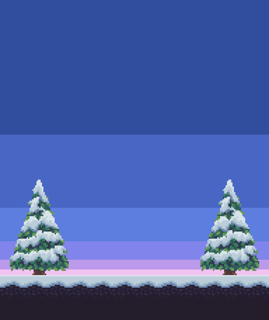 Pixel art winter scene with snowy fir trees and ground. Ilustrace
