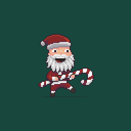 Pixel art Santa with striped Christmas candy
